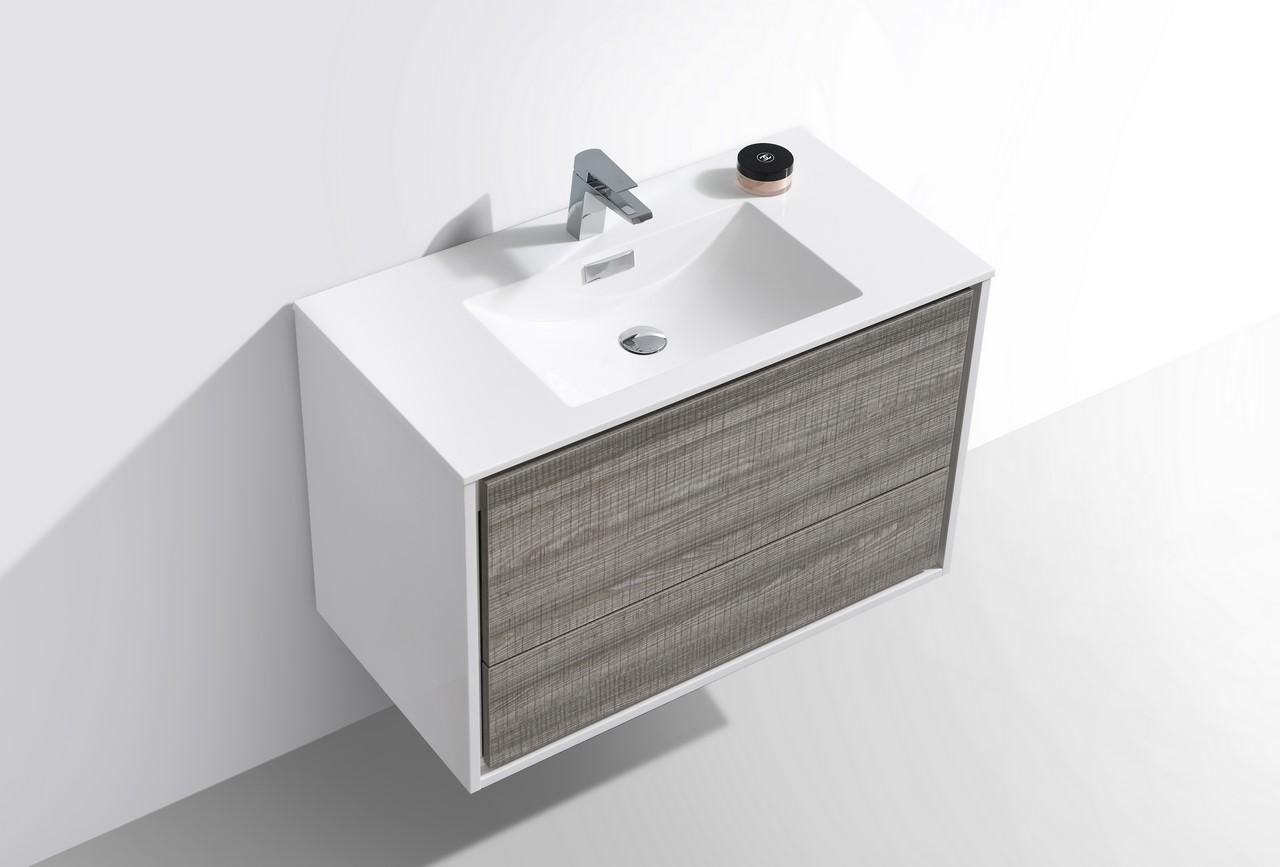 De Lusso 36 Quot Ash Gray Wall Mount Modern Bathroom Vanity