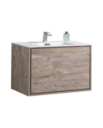 "De Lusso 36"" Nature Wood Wall Mount Modern Bathroom Vanity"