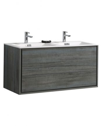 "De Lusso 48"" Double Sink Ocean Gray Wall Mount Modern Bathroom Vanity"