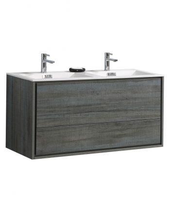 "De Lusso 48"" Double Sink Ocean Gray Wall Mount Modern Bathroom Vanity"