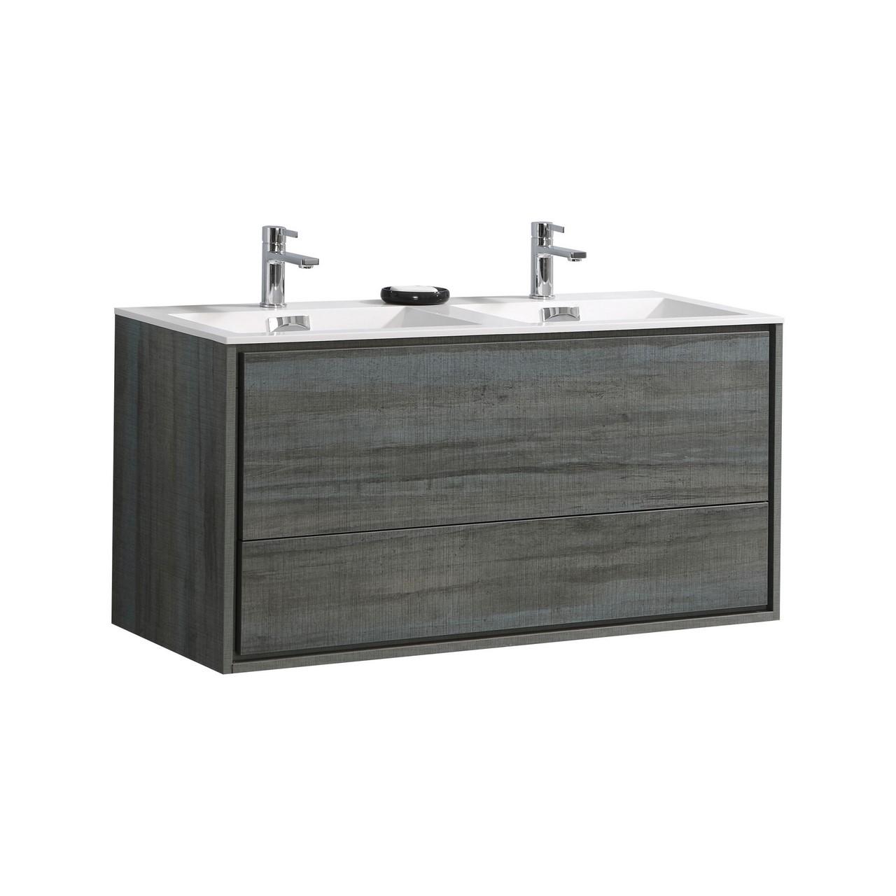 """De Lusso 48"""" Double Sink Ocean Gray Wall Mount Modern ..."""