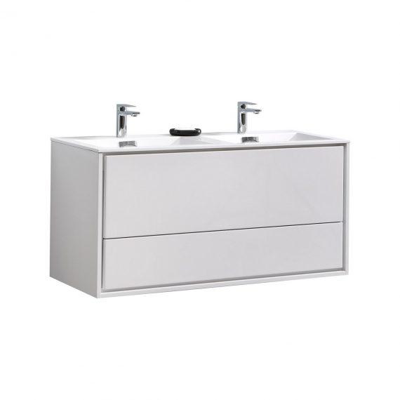 "De Lusso 48"" Double Sink High Glossy White Wall Mount Modern Bathroom Vanity"