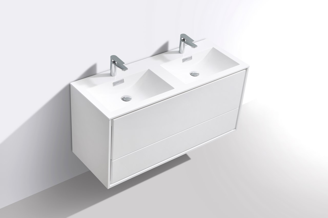 De Lusso 48 Quot Double Sink High Glossy White Wall Mount