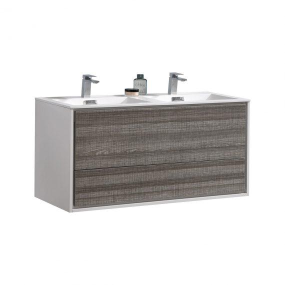 """De Lusso 48"""" Double Sink Ash Gray Wall Mount Modern Bathroom Vanity"""