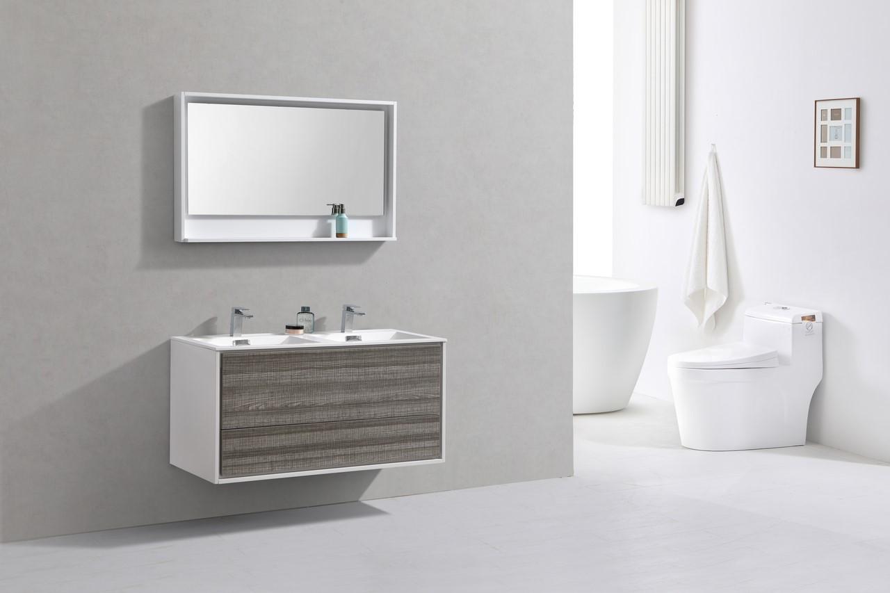 De Lusso 48 Quot Double Sink Ash Gray Wall Mount Modern