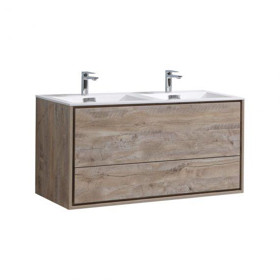 "De Lusso 48"" Double Sink Nature Wood Wall Mount Modern Bathroom Vanity"