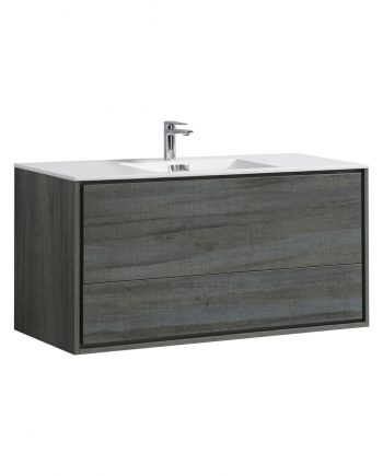 "De Lusso 48"" Single Sink Ocean Gray Wall Mount Modern Bathroom Vanity"