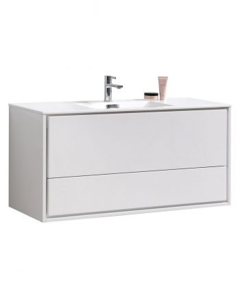 "De Lusso 48"" Single Sink High Glossy White Wall Mount Modern Bathroom Vanity"