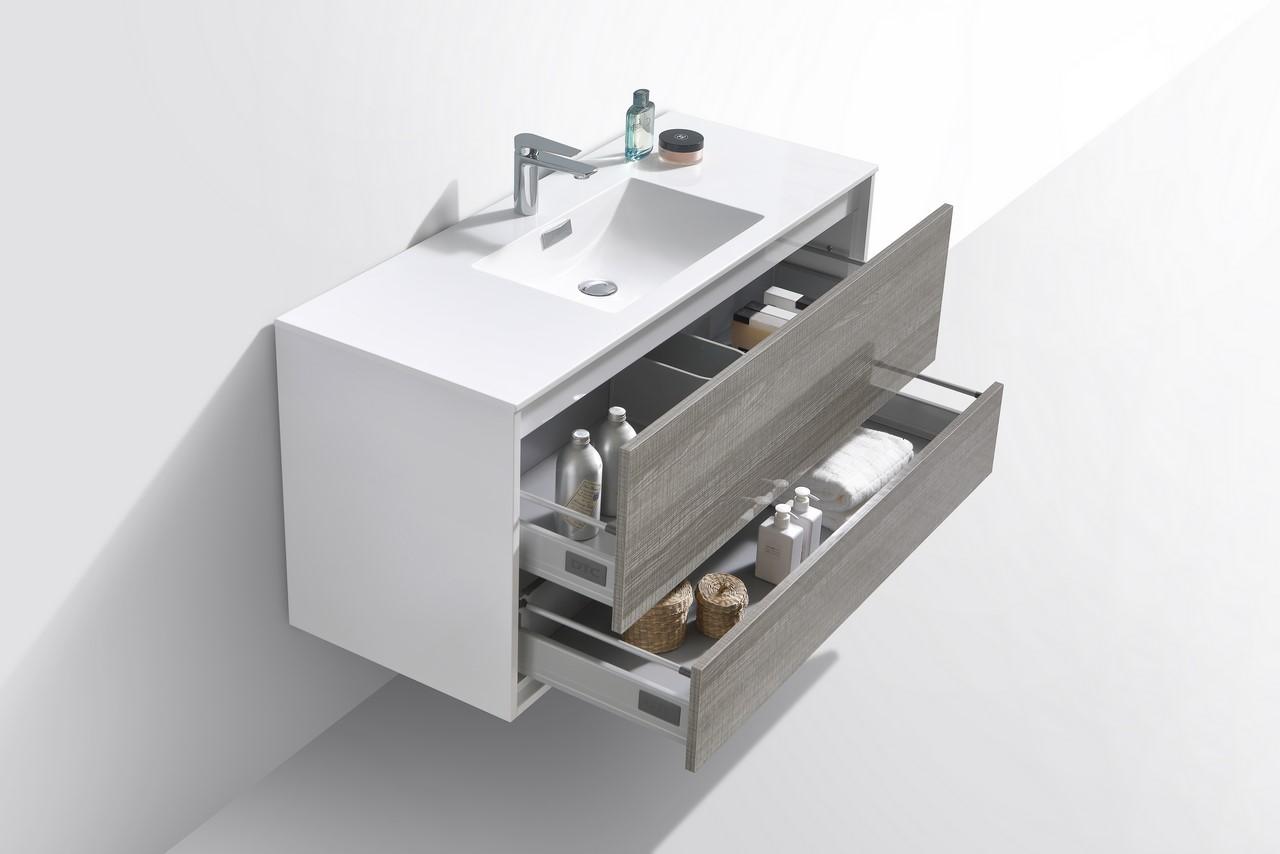 De Lusso 48 Quot Single Sink Ash Gray Wall Mount Modern