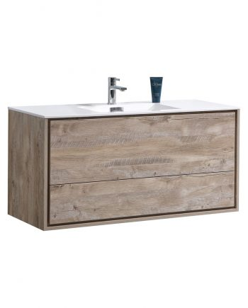 "De Lusso 48"" Single Sink Nature Wood Wall Mount Modern Bathroom Vanity"
