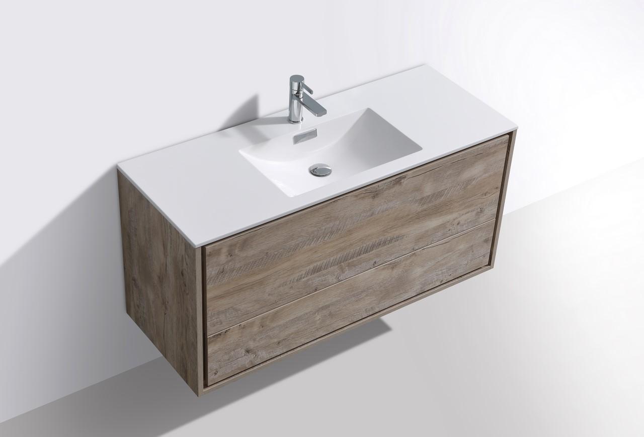 """de lusso 48"""" single sink nature wood wall mount modern"""