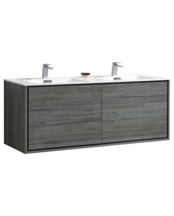 "De Lusso 60"" Double Sink Ocean Gray Wall Mount Modern Bathroom Vanity"