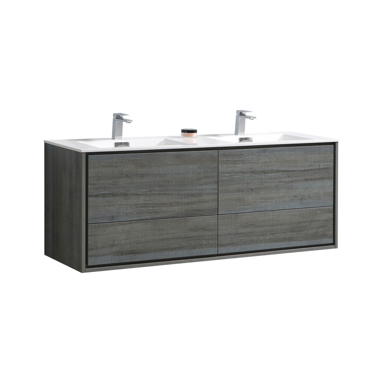 De Lusso 60 Quot Double Sink Ocean Gray Wall Mount Modern