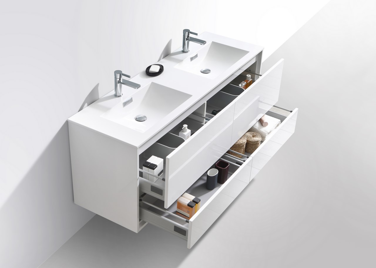 De Lusso 60 Quot Double Sink High Glossy White Wall Mount