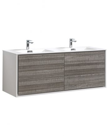 "De Lusso 60"" Double Sink Ash Gray Wall Mount Modern Bathroom Vanity"