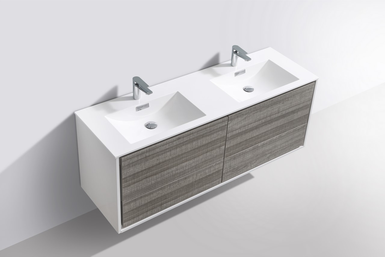 De Lusso 60 Quot Double Sink Ash Gray Wall Mount Modern