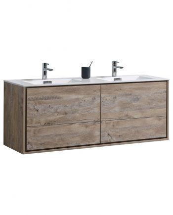"De Lusso 60"" Double Sink Nature Wood Wall Mount Modern Bathroom Vanity"