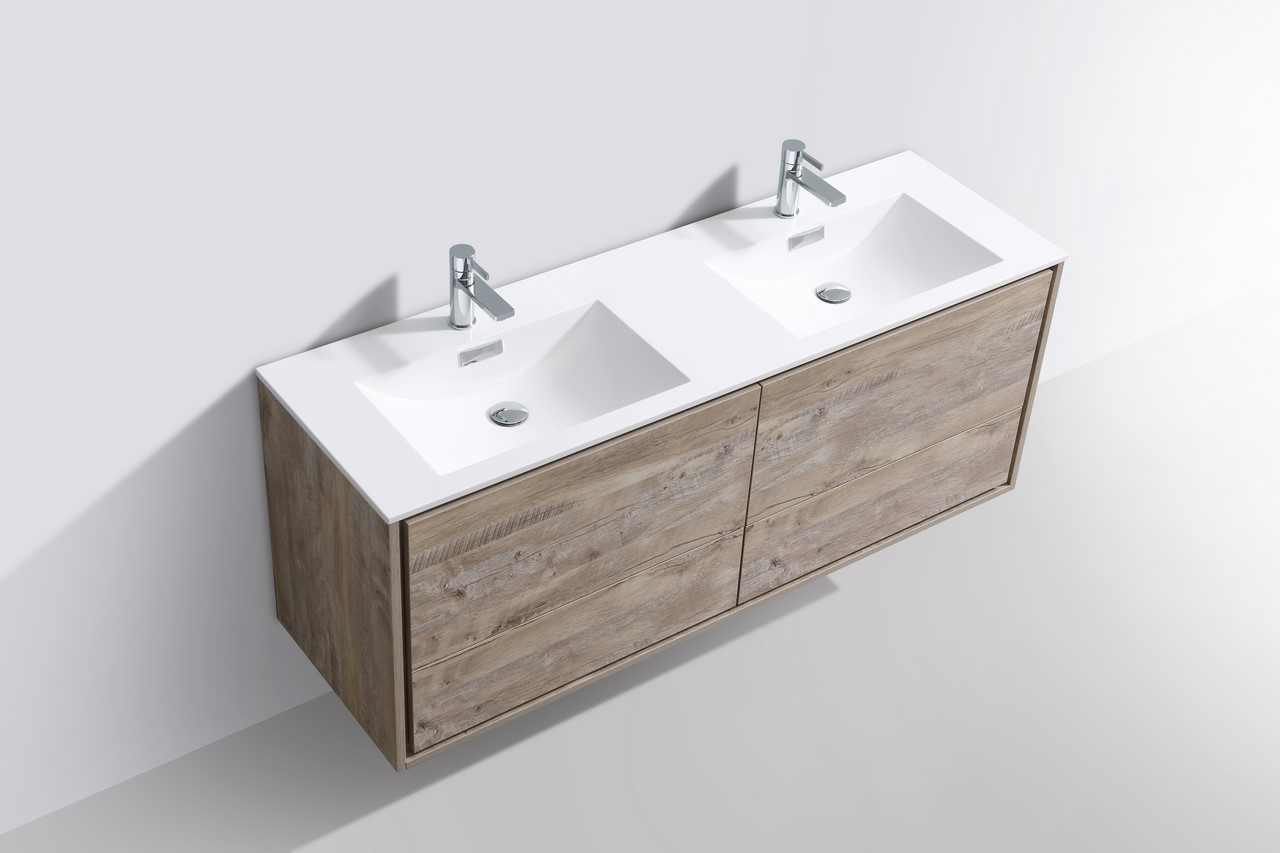 De Lusso 60 Quot Double Sink Nature Wood Wall Mount Modern