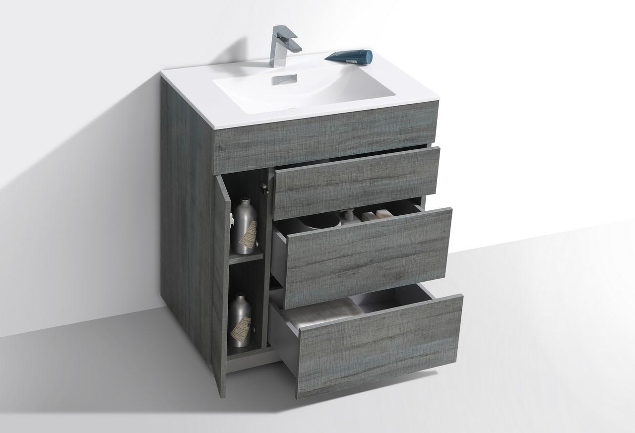 """Milano 30"""" Ocean Gray Floor Mount Modern Bathroom Vanity ..."""