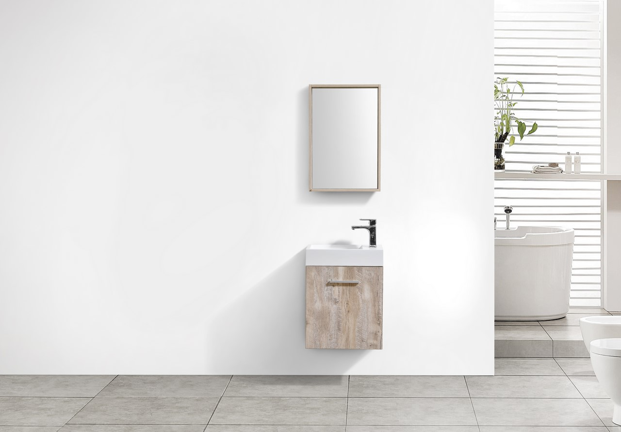 "bliss 18"" nature wood wall mount modern bathroom vanity"