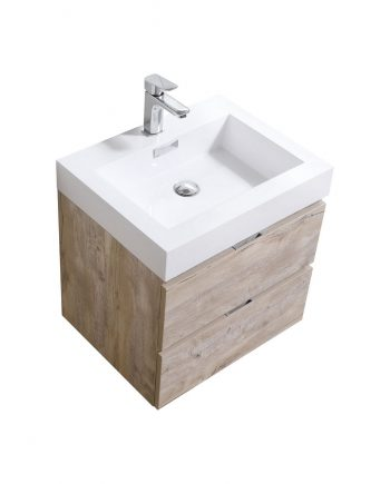 "Bliss 24"" Nature Wood Wall Mount Modern Bathroom Vanity"