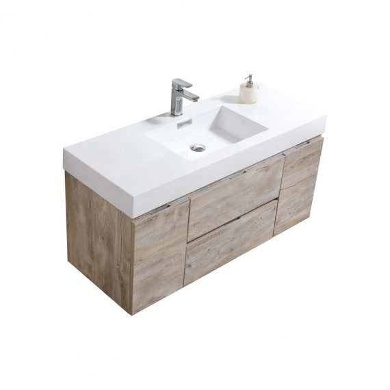 "Bliss 48"" Nature Wood Wall Mount Single Sink Modern Bathroom Vanity"