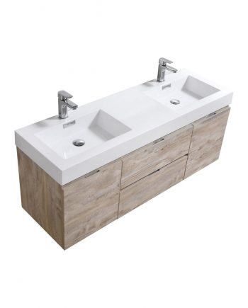 "Bliss 60"" Nature Wood Wall Mount Double Sink Modern Bathroom Vanity"