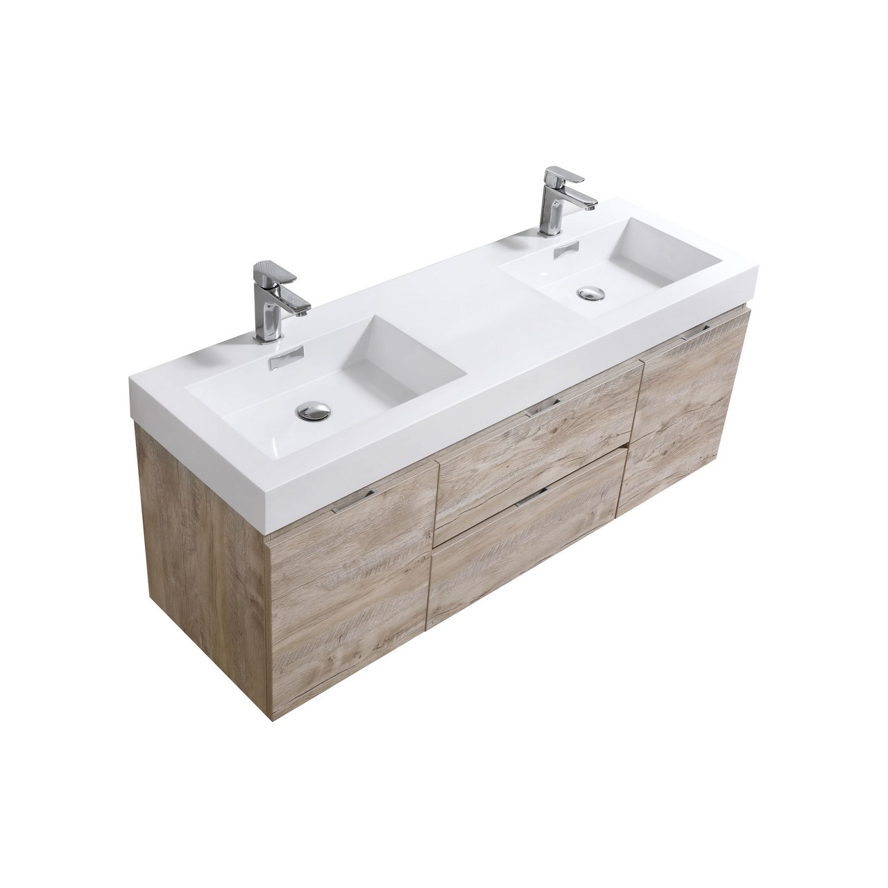 Bliss 60 Quot Nature Wood Wall Mount Double Sink Modern
