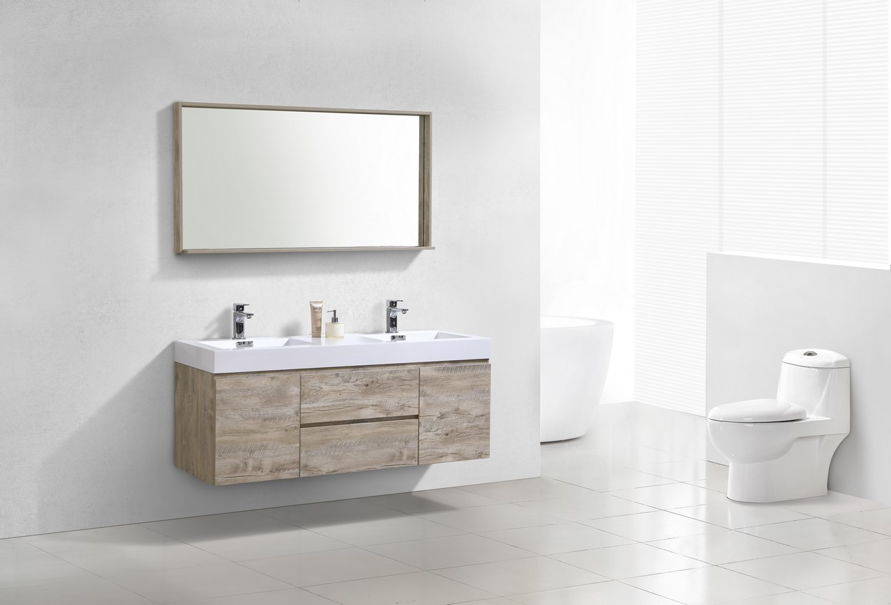 "Bliss 60"" Nature Wood Wall Mount Double Sink Modern ..."