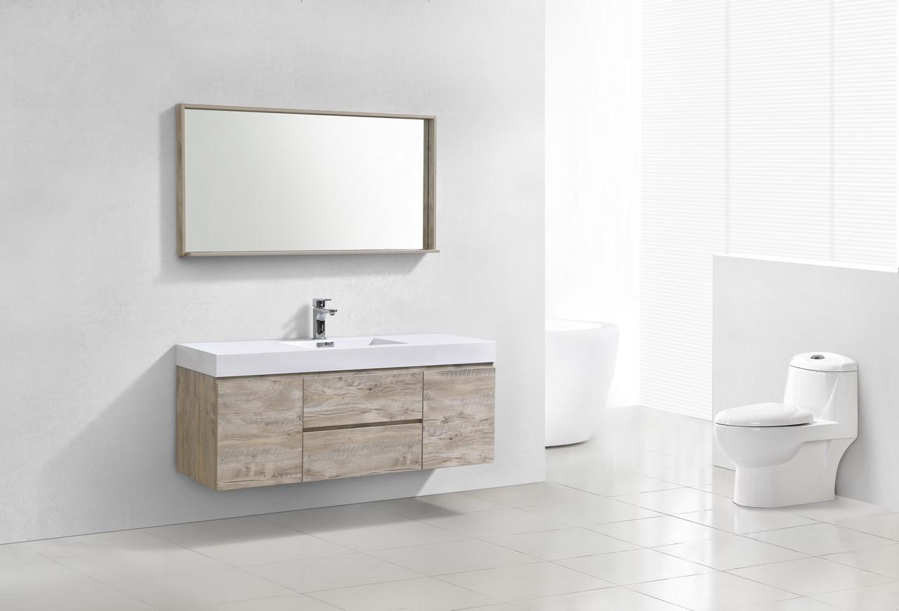 "bliss 60"" nature wood wall mount single sink modern"