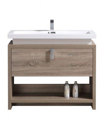 "Levi 40"" Havana Oak Modern Bathroom Vanity w/ Cubby Hole"