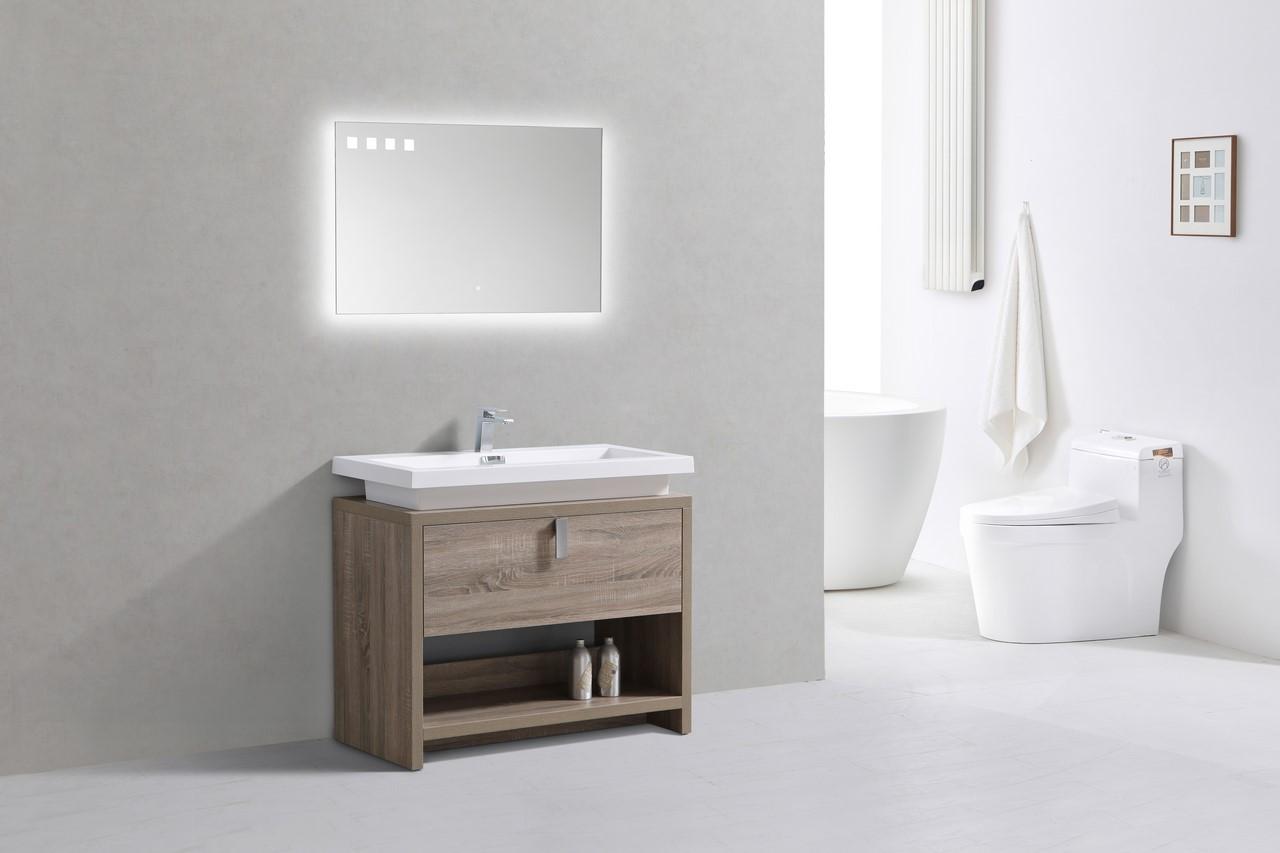 Levi 40 Havana Oak Modern Bathroom Vanity W Cubby Hole Montreal Vanity
