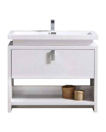 "Levi 40"" High Gloss White Modern Bathroom Vanity w/ Cubby Hole"