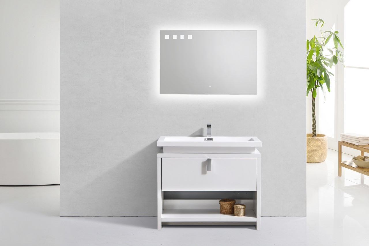 "Levi 40"" High Gloss White Modern Bathroom Vanity W/ Cubby"