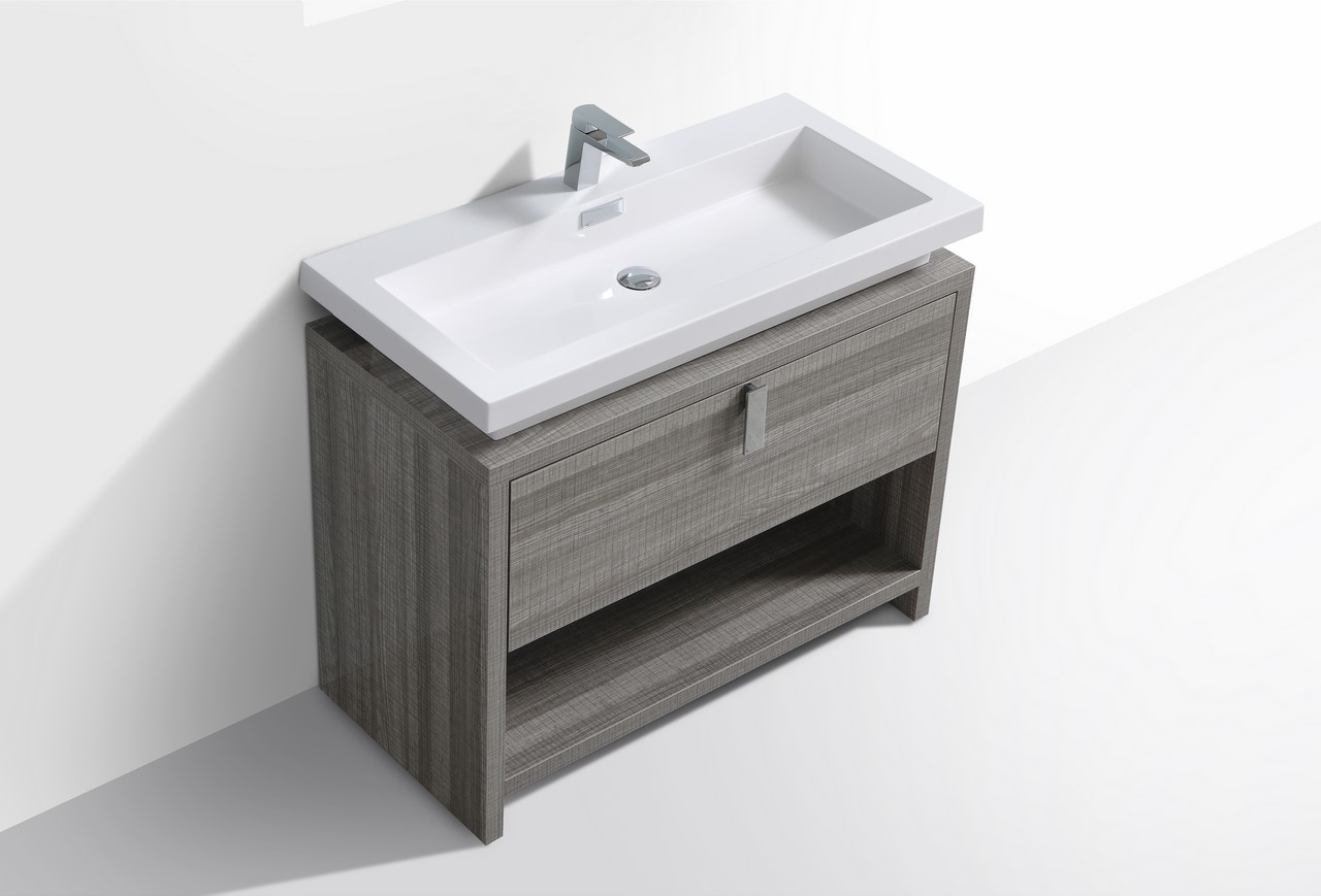 Levi 40 Quot Ash Gray Modern Bathroom Vanity W Cubby Hole