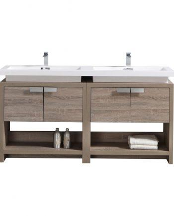 "Levi 63"" Havana Oak Modern Bathroom Vanity w/ Cubby Hole"
