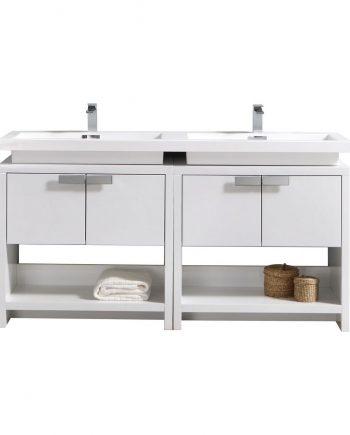 "Levi 63"" High Gloss White Modern Bathroom Vanity w/ Cubby Hole"