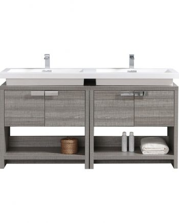 "Levi 63"" Ash Gray Double Sink Modern Bathroom Vanity w/ Cubby Hole"