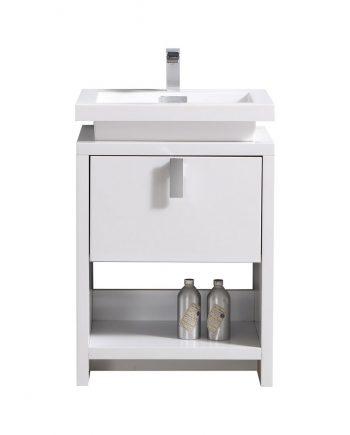 "Levi 24"" High Gloss White Modern Bathroom Vanity w/ Cubby Hole"