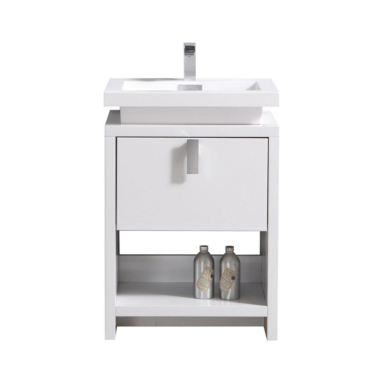 "Levi 24"" High Gloss White Modern Bathroom Vanity W/ Cubby"