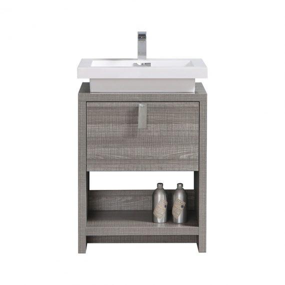 "Levi 24"" Ash Gray Modern Bathroom Vanity w/ Cubby Hole"