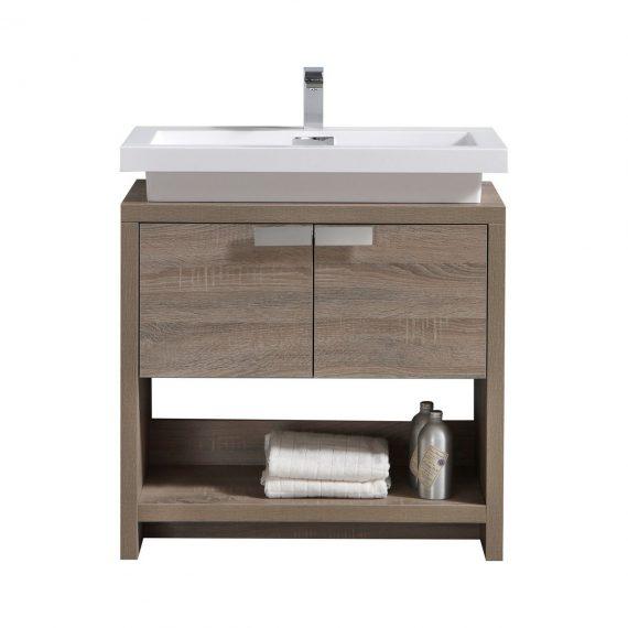 "Levi 32"" Havana Oak Modern Bathroom Vanity w/ Cubby Hole"