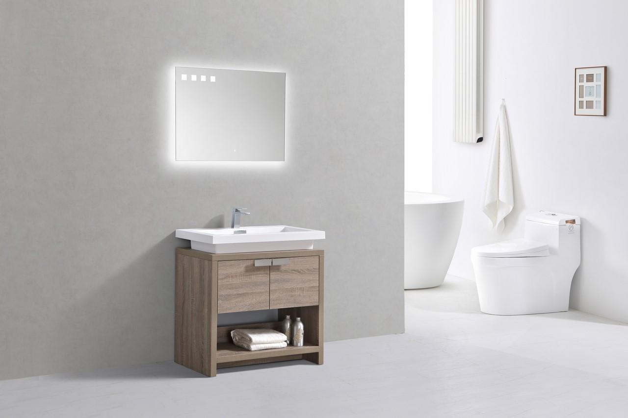 Levi 32 Havana Oak Modern Bathroom Vanity W Cubby Hole Montreal Vanity