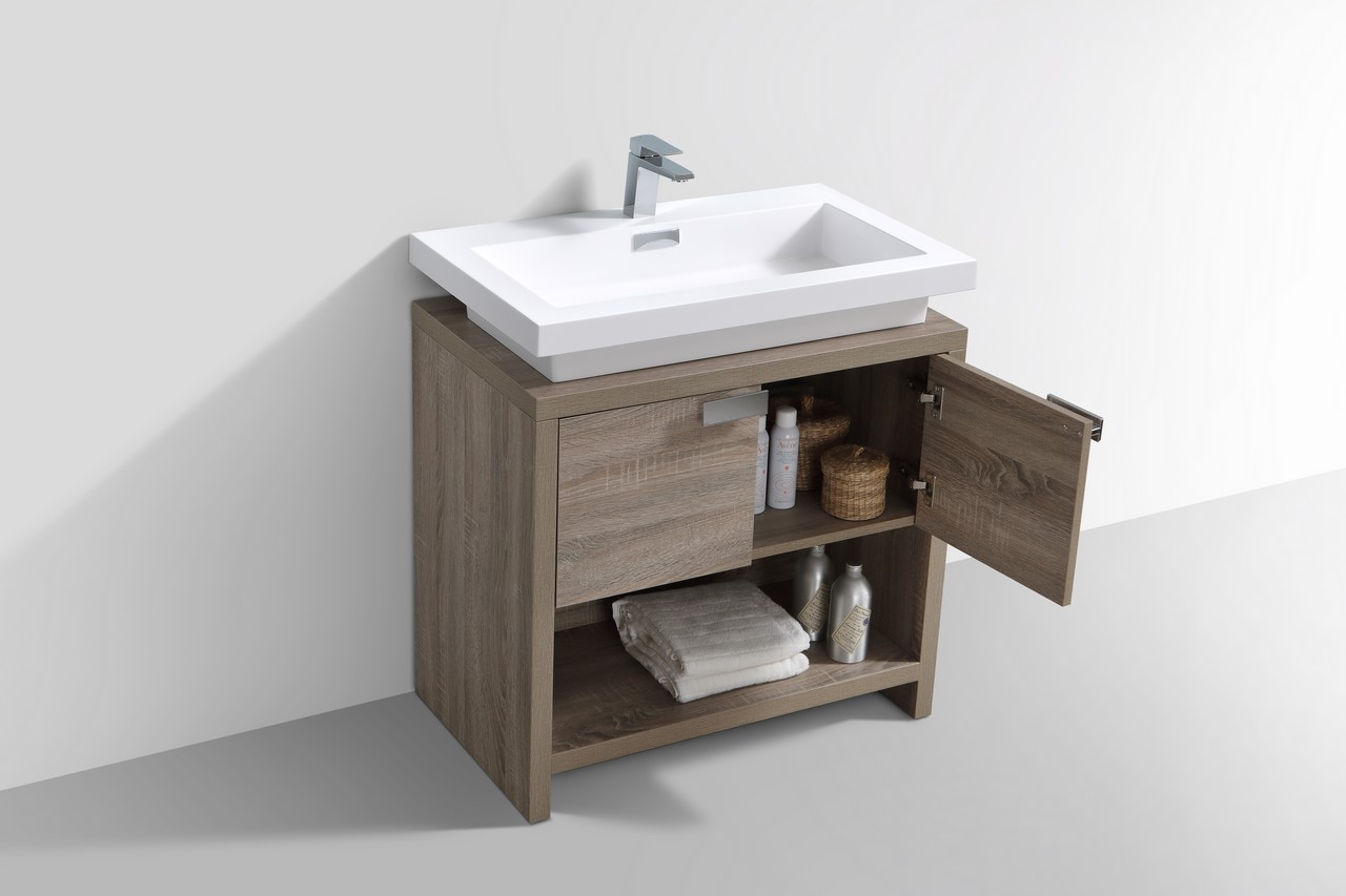 Levi 32 Quot Havana Oak Modern Bathroom Vanity W Cubby Hole