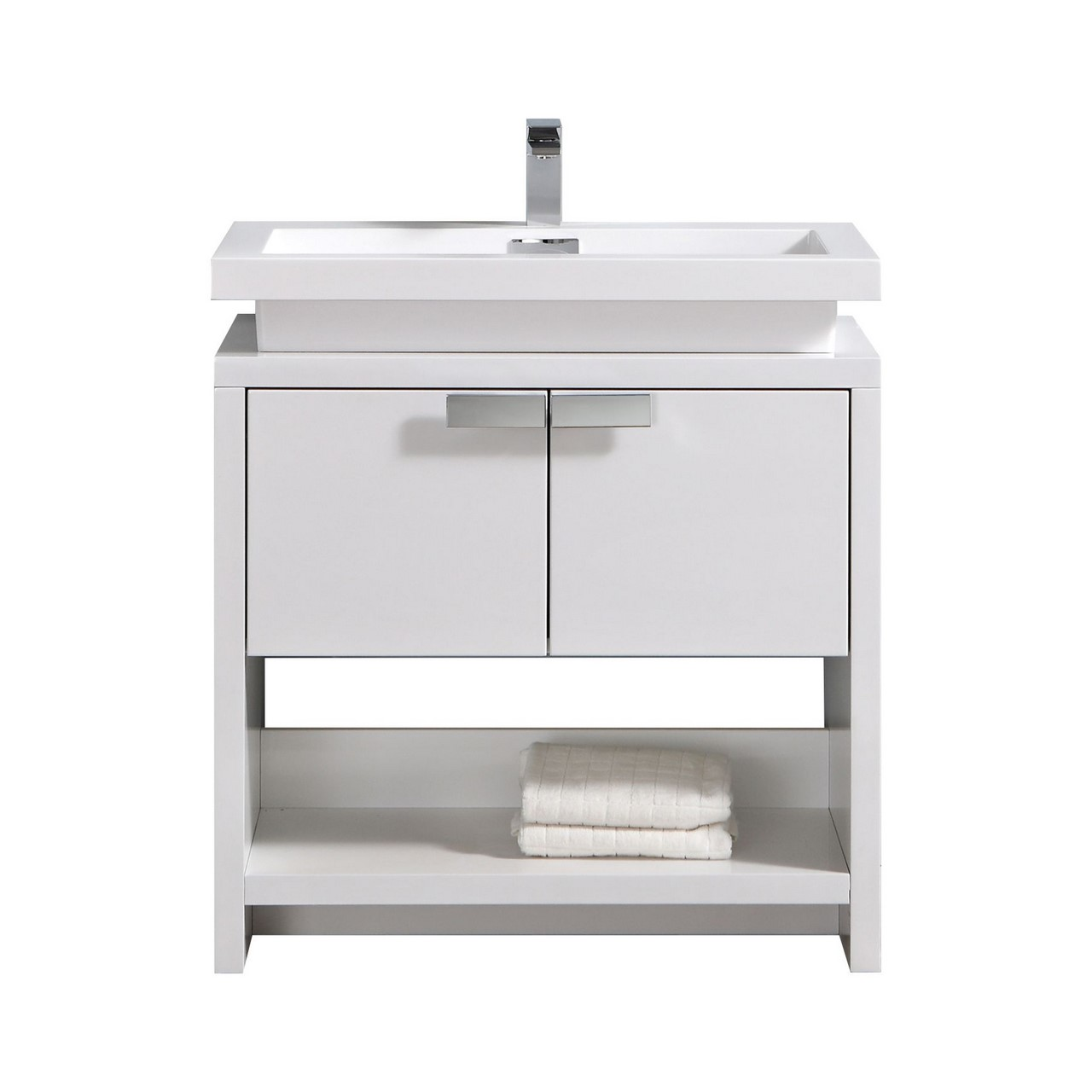 "Levi 32"" High Gloss White Modern Bathroom Vanity W/ Cubby"