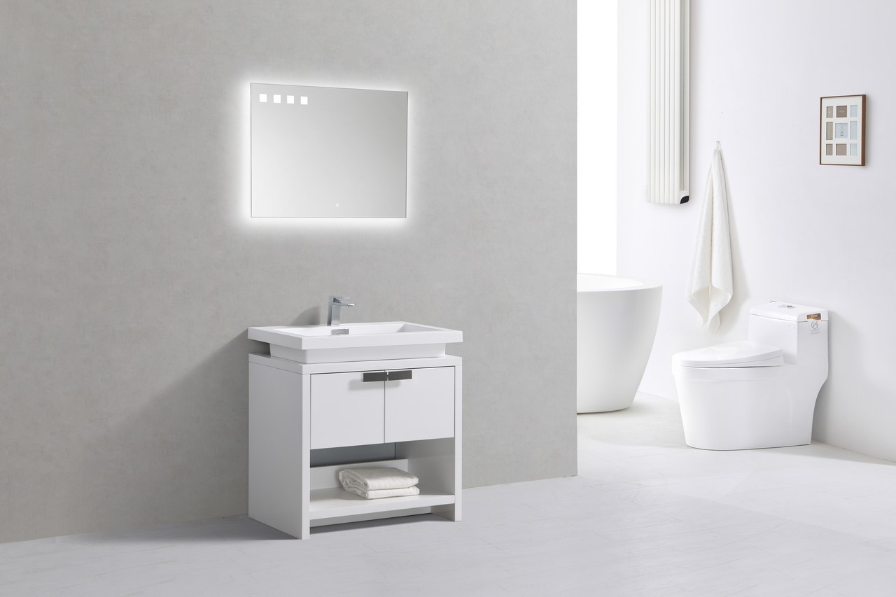 Levi 32 Quot High Gloss White Modern Bathroom Vanity W Cubby Hole Montreal Vanity