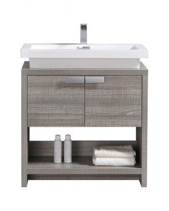 "Levi 32"" Ash Gray Modern Bathroom Vanity w/ Cubby Hole"