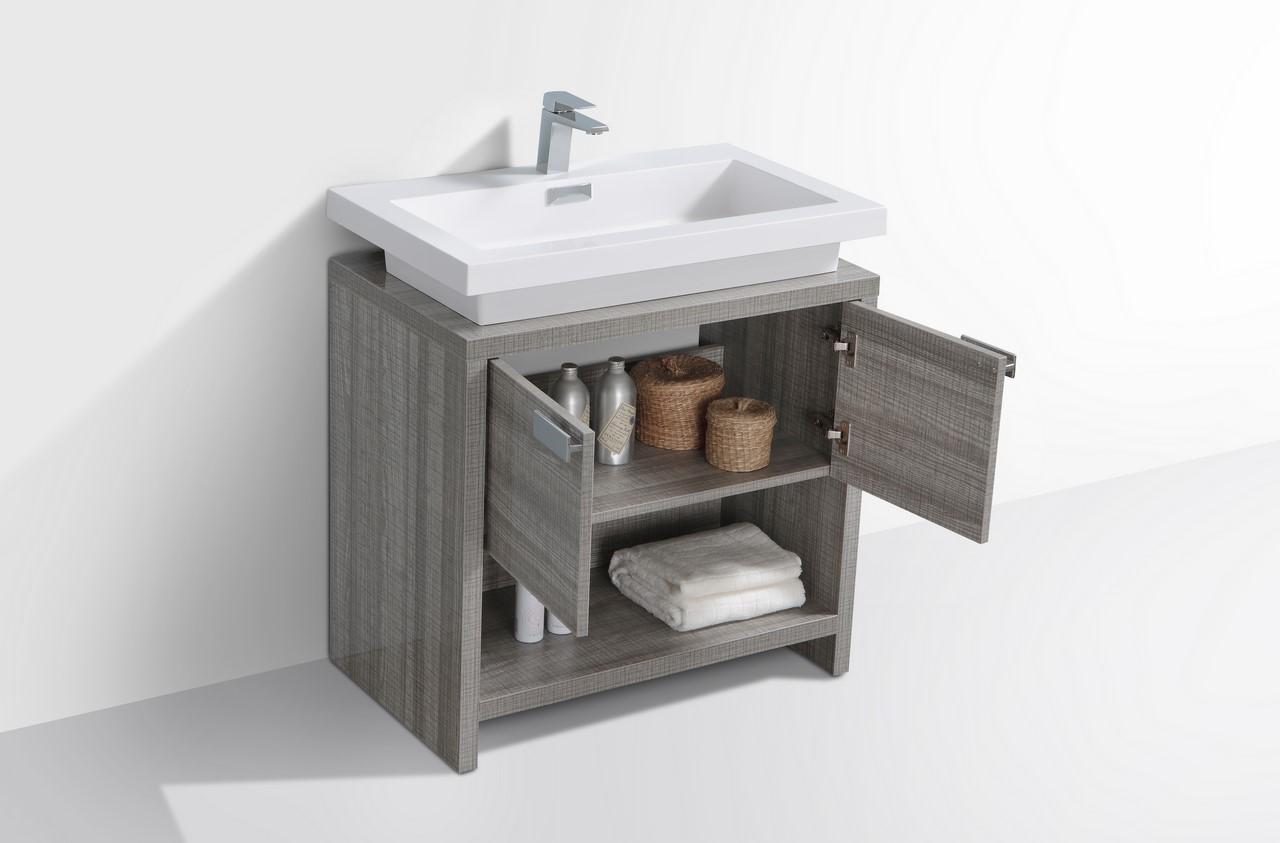Levi 32 Quot Ash Gray Modern Bathroom Vanity W Cubby Hole