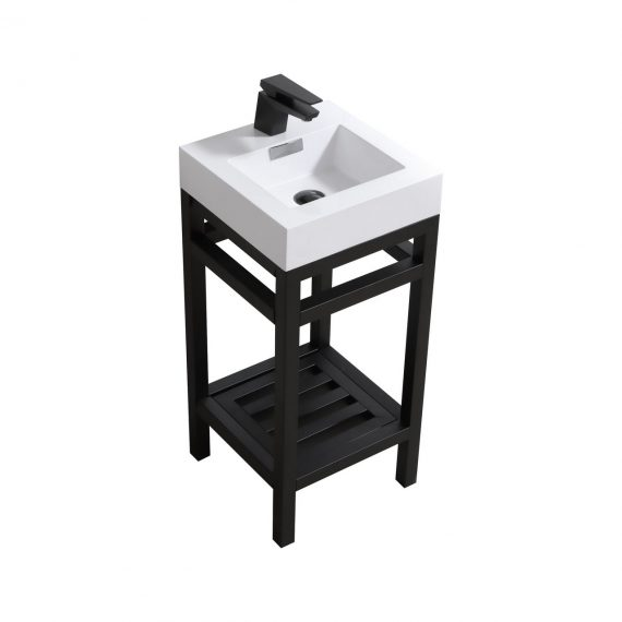 """Cisco 16"""" Stainless Steel Console w/ White Acrylic Sink - Matte Black"""