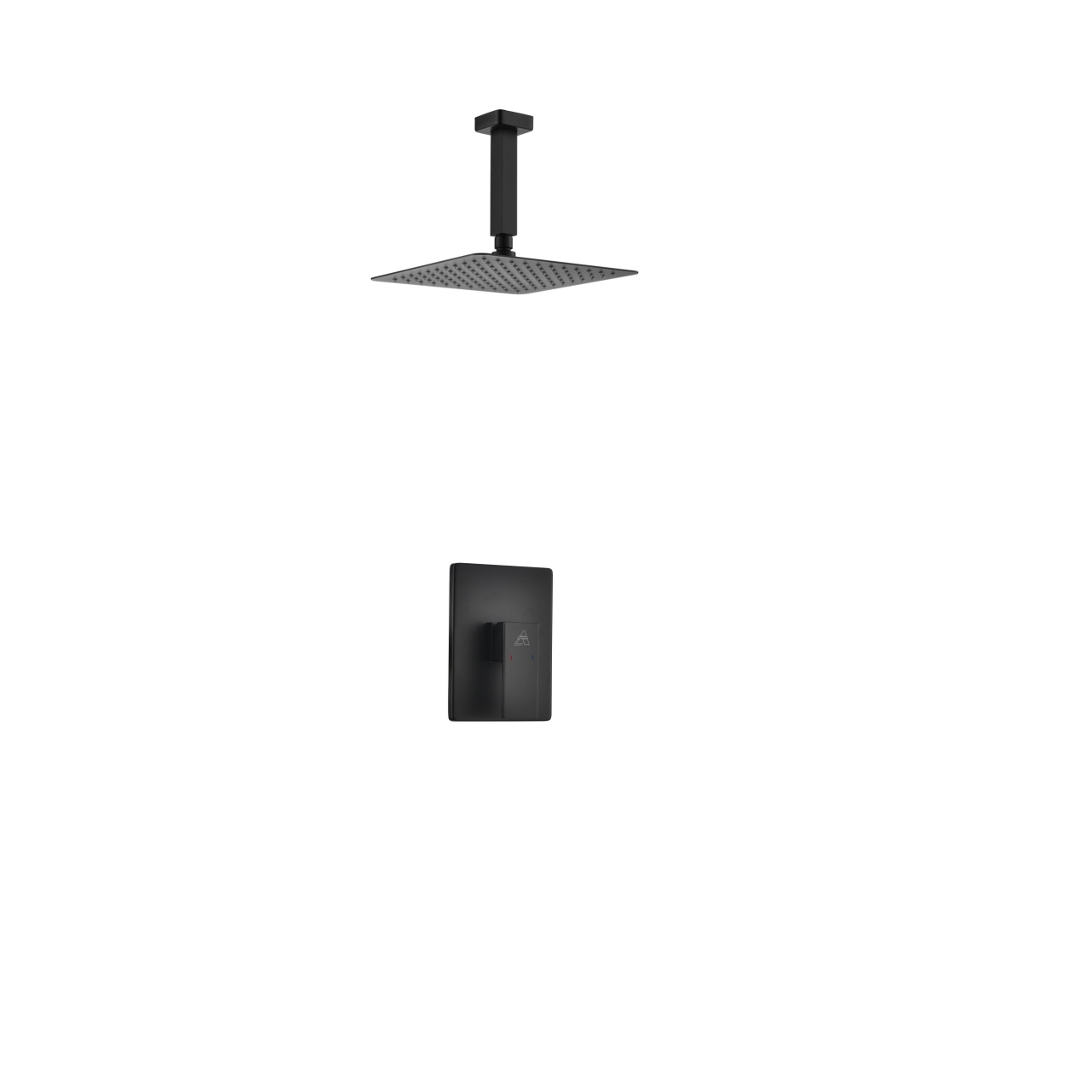 Aqua Piazza Black Shower Set W 8 Ceiling Mount Square Rain Shower